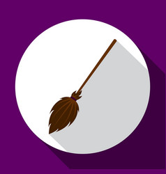 Witch broom flat icon with long shadow vector