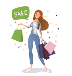 Young woman street style with bags for shopping vector