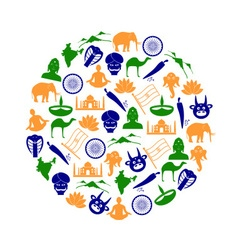 india country theme symbols color icons in circle vector image vector image