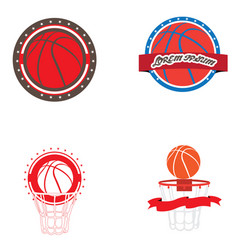 set of basketball vector image vector image