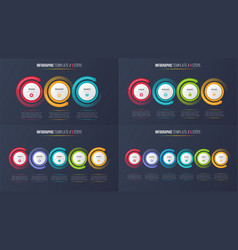 three-six steps infographic process charts with vector image
