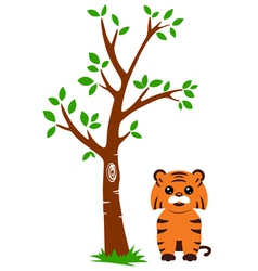 Tree and Tiger vector image