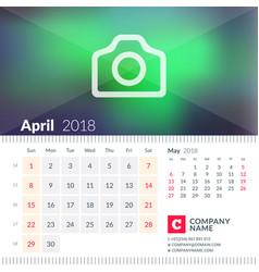 calendar for april 2018 week starts on sunday 2 vector image vector image