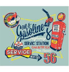 cute garage gasoline service station vector image vector image