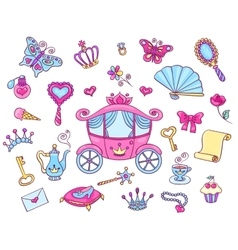 Cute princess set with carriage vector image vector image