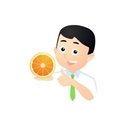 Happy Man with Orange vector image vector image