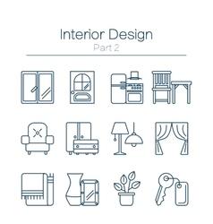Interor desig icons isolated vector image