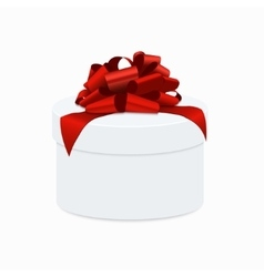 modern red bow with white gift box vector image