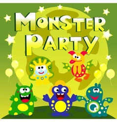 monster party poster vector image vector image