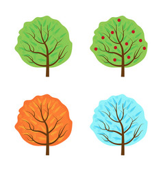trees set the seasons icon flat style isolated on vector image