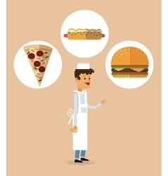 Delicius food Chef icon Delivery concept vector image