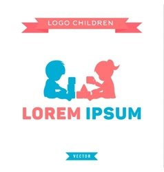 Logo children playing with blocks boy and girl vector image