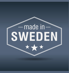 Made in sweden hexagonal white vintage label vector