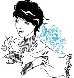 Pretty young woman drawing vector image
