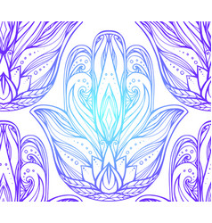 seamless pattern with contour of hamsa with boho vector image vector image