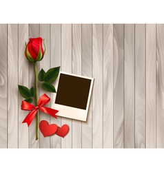 Valentines day background with photo hearts and a vector image