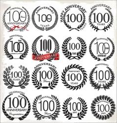 100 years anniversary laurel wreaths vector