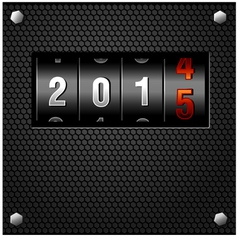 2015 New Year Analog Counter on metal plate vector image vector image
