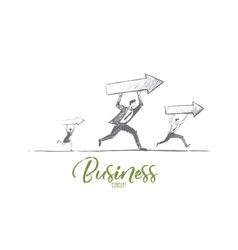 Hand drawn business people running with indicators vector image vector image