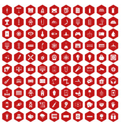 100 energy icons hexagon red vector