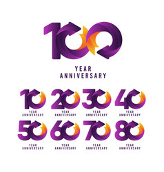 100 years anniversary gradient purple template vector