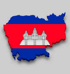 3d isometric map cambodia with national flag vector