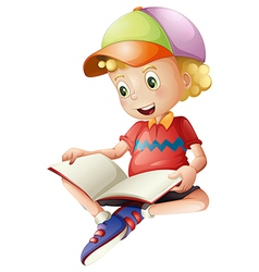 A cute kid reading vector