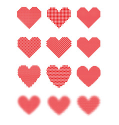 A set of halftone hearts vector