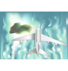 airplane over the sea vector image vector image