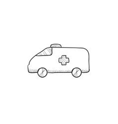 Ambulance car sketch icon vector