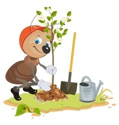 Ant gardener planting tree seedling fruit tree vector