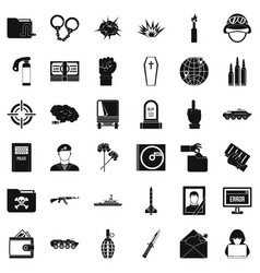 Army icons set simple style vector