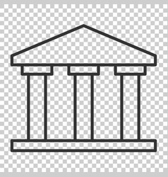 bank building icon in flat style government vector image