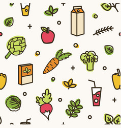 beautiful seamless pattern with various delicious vector image