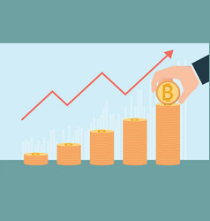 bitcoin growth conceptual with stacks of gold vector image