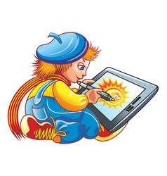 boy and a graphics tablet blue and yellow vector image