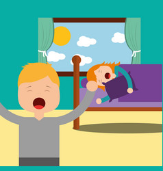 boy standing and girl asleep in bed vector image