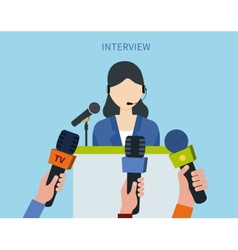 Businesswoman answering press vector