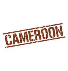 Cameroon brown square stamp vector