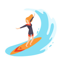 Character surfing isolated on vector