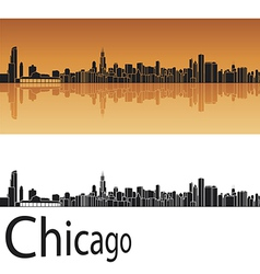 Chicago skyline in orange background vector