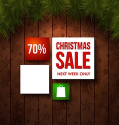 Christmas sale design template Wooden background vector image
