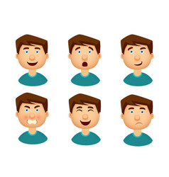 Collection of man with a variety of emotions vector