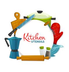 Cooking appliances banner kitchen utensil vector