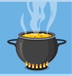 cooking soup in pan pot on stove with steam vector image