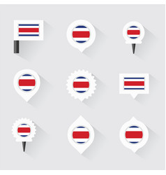 Costa rica flag and pins for infographic and map vector