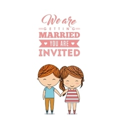 Couple cartoon icon Invitation and save the date vector image