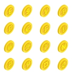 Currency icons set isometric 3d style vector image