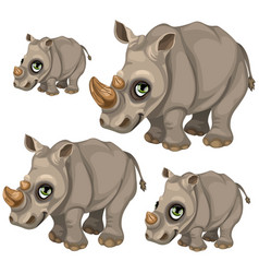 cute rhino with green eyes animals vector image