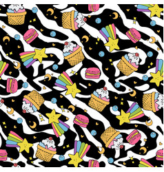 cute seamless pattern with macaroons and cakes vector image